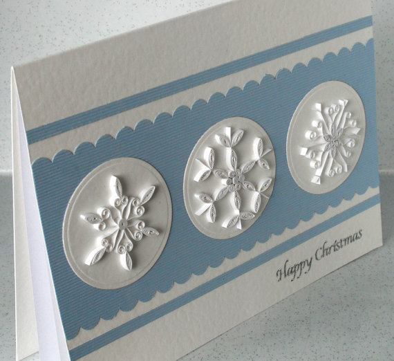 Quilled Christmas card quilling, handmade, quilled snowflakes